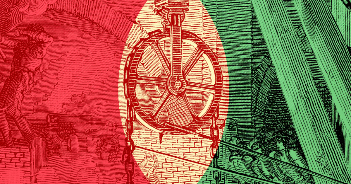 A woodcut of a simple pulley