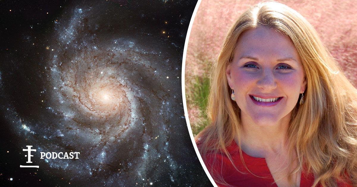 Cathryn Buse with her portrait and a galaxy.